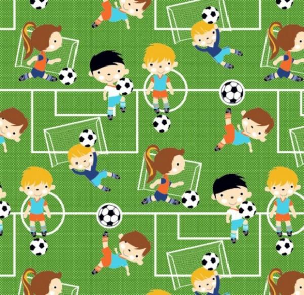 Baumwollstoff Fussball Fußballer 0,5 x 1,4m