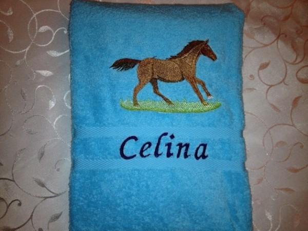 Handtuch 500 g/m Pony Pferd 16 + Name bestickt