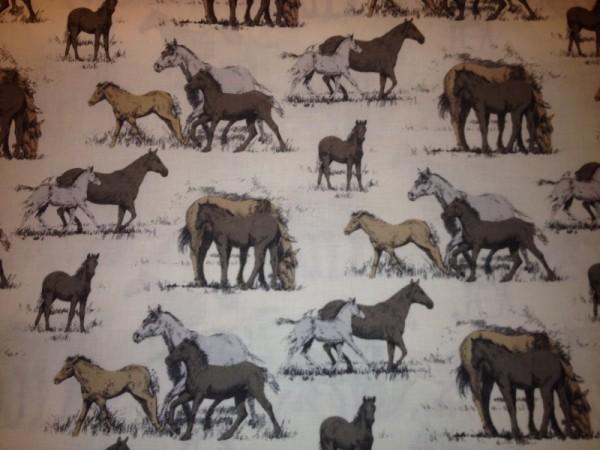 Baumwollstoff Stoffe - Pferde Ponys Pferddestoff 0,5 x 1,4 m