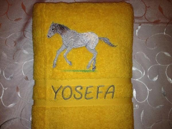Duschtuch 500 g/m Pony Pferd 03 + Name bestickt