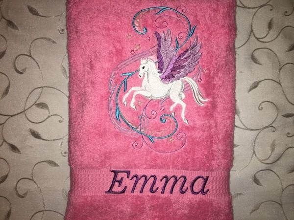 Handtuch Einhorn04 Pegasus Name bestickt Stickerei