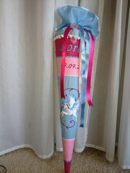 Stoff Schultüte Einhorn 05 Name bestickt Stickerei Unicorn Pegasus Zuckertüte