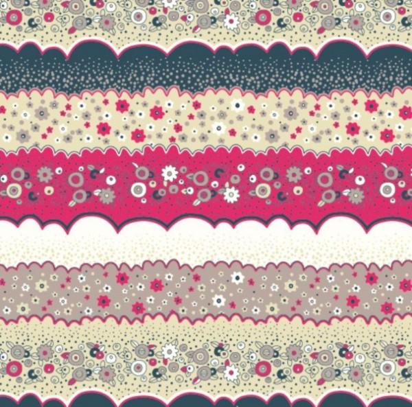 Baumwollstoff Stoffe - Patchwork blau-rosa - 0,5 x 1,6 m