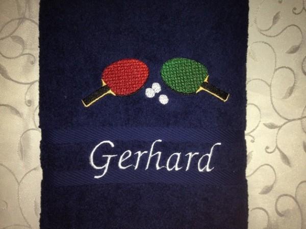 Handtuch 500 g/m Tischtennis01 Name Stickerei