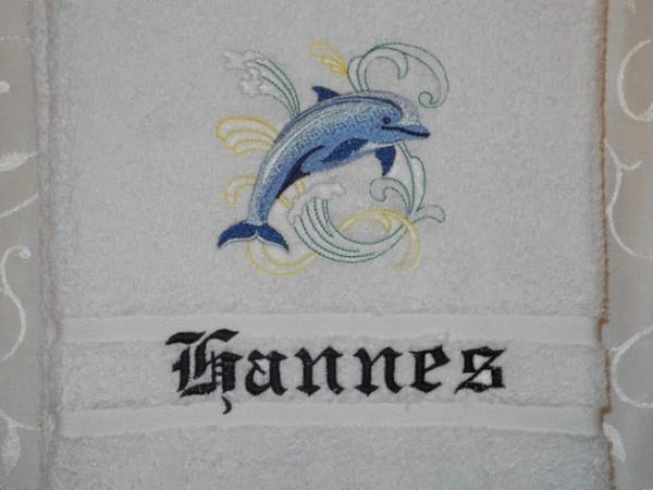 Handtuch 500 g/m Delfin Namen bestickt Stickerei
